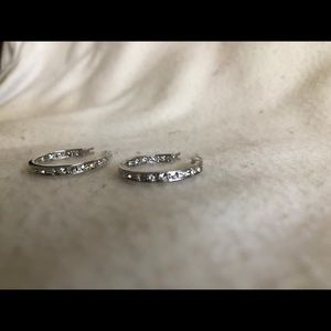 Cookie Lee small silver hoops with sparkles